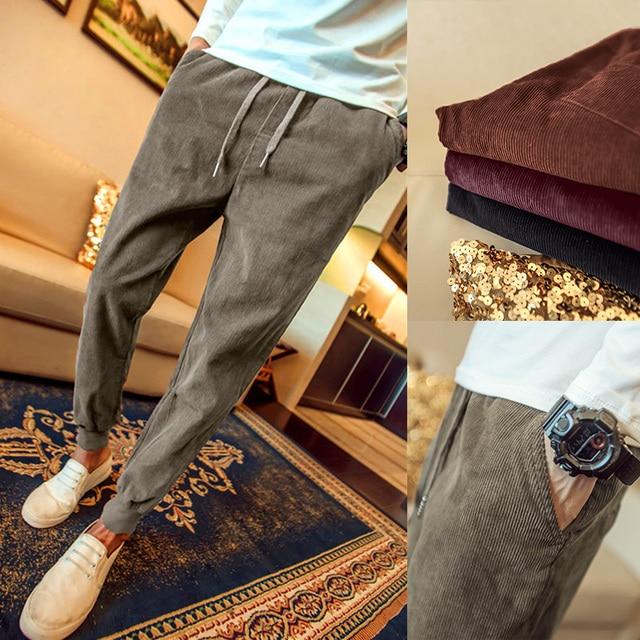 New arrival fashion beam closed the feet corduroy pants men elastic waist casual pants pantalon homme 5-colors size m-5xl XXK7