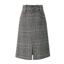 8228471b0364ae Frauen Herbst Vintage Plaid Bleistift Midi Rock Leinen Hohe Taille Split Casual  Büro Dame Elegante Mode Bodycon Buttoms Röcke