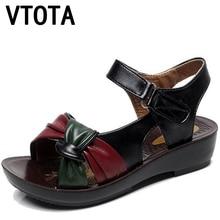 Vtota женская обувь для мам среднего возраста сандалии 2017, женская обувь на танкетке с открытым носком повседневная женская обувь Мягкая дышащая Sandalias Mujer X452