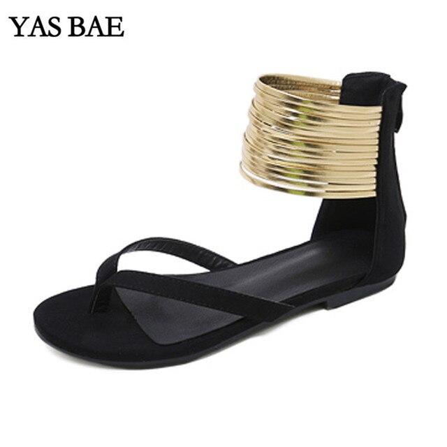 40d9ffb2cfc5 2019 Wanita Fashion Designer Slide Thong Gladiator Roman Sandal Musim Panas  Karet Flip Flop Flat Sandal