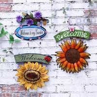 Vintage Metal Hanging Ladybird Sunflower Welcome Sign Wall Art Yard Outdoor Patio Fence Door Decor
