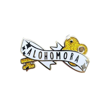 Alohomora лацкан булавка чары баннер значок желтый глиттер колдовство брошь поклонники художественный аксессуар