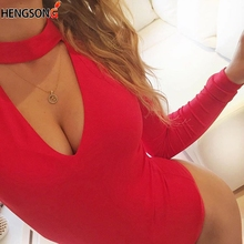 Women Long Sleeve Bodysuit Sexy Romper Deep V Neck Bodycon Body Suit One Piece F