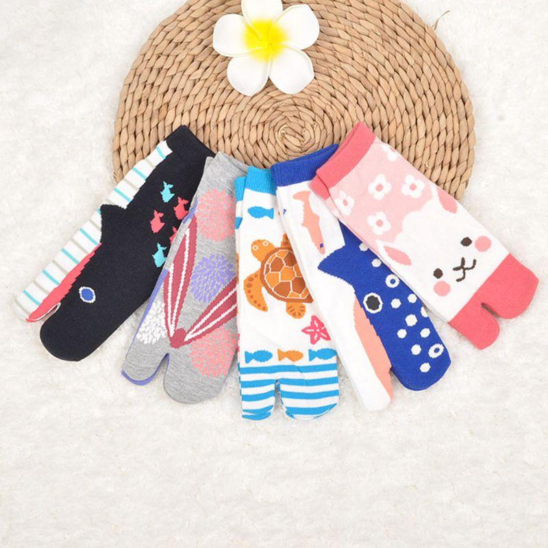 Two Finger Socks Japanese Style Unisex Cotton Toe Socks Foot Bag Short Cotton Cocks Samurai Split Toe Socks 1 Pair AAA0598
