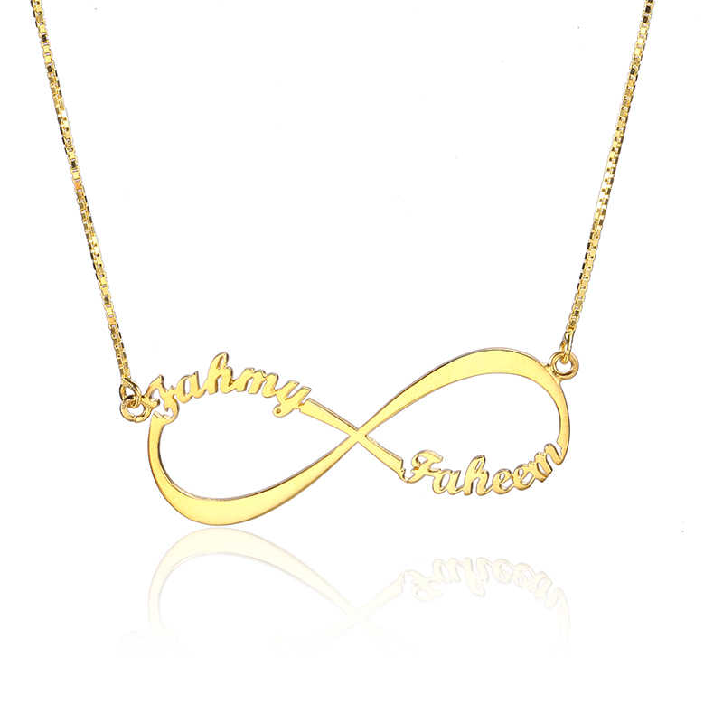 RainMarch 925 Silver Infinity Name Necklace Women Personalized Necklaces & Pendants Customiz Chock Necklace Gift Dropshipping