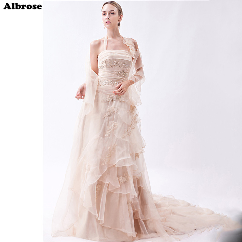 Online Shop Chic Flowers Halter Wedding Dress Elegant Sexy Beach Dresses Long Bridal Gown Beaded Formal Robe De Mariee