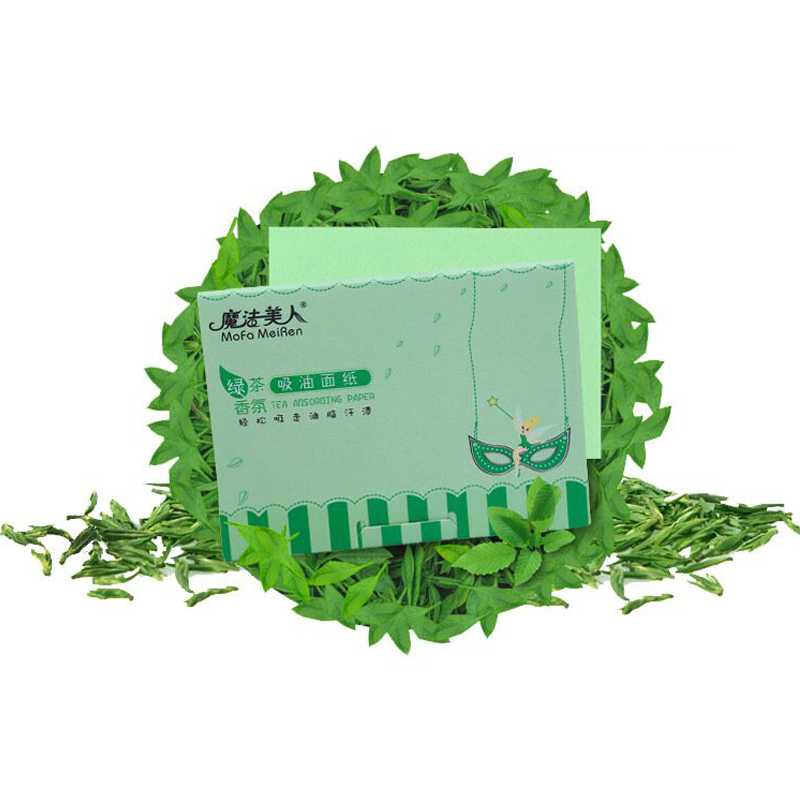 2pcs Facial Absorb Paper Green Tea Fragrance Woman Facial Natural Blue Facial Mask Beauty Tools 100 sheets/box Green tea aroma