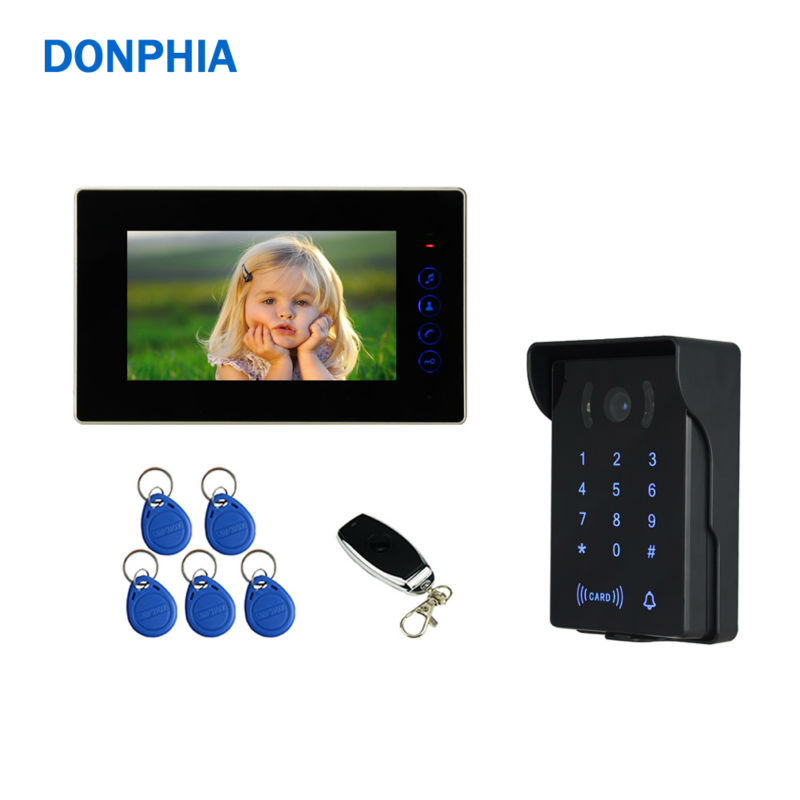 DONPHIA Video Door Phone Password ID Card Unlock 10m Cable Wired 7 inch LCD Screen Two-Way Talk Intercom System Video Doorphone 7 inch video doorbell tft lcd hd screen wired video doorphone for villa one monitor with one metal outdoor unit night vision