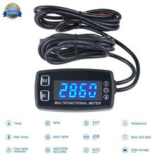 LED Tach/Hour Meter Thermometer Temperature Meter for gasoline marine outboard paramotor trimmer cultivator tiller digital lcd tachometer hour meter thermometer temperature for gas utv atv outboard buggy tractor jet ski paramotor