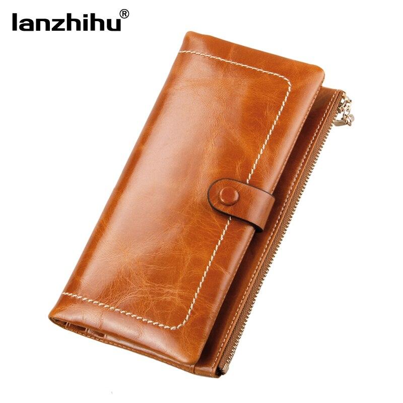 100% Vintage Oil Wax Cowhide Women Leather Wallet Genuine Leather Women's Long Wallets Card Clutch Zipper Coin Pocket Purse цена и фото
