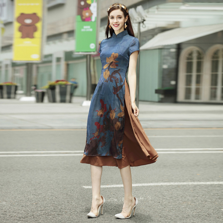af9d08010 New Autumn Asian Clothing Ao Dai Vietnam Traditional Qipao Women Chinese  Slim Dress Chinoise Modern Cheongsam Flower Print Aodai