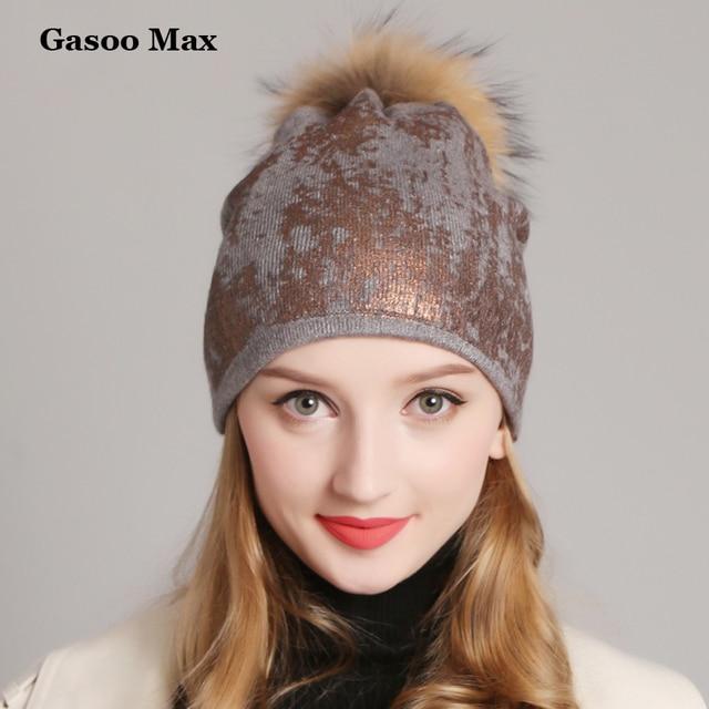 2019 Paint Double Layer Knitted Winter Hats Women Fashion Cashmere Fur Pom  Pom Hat Female Shining Warm Wool Girls Beanies 6ff30e1ba7d