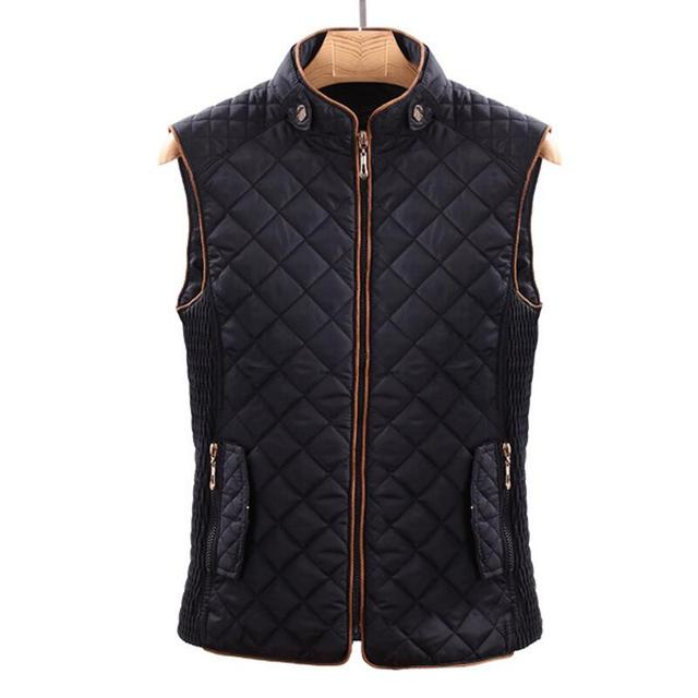 5d3ddb9c4a499 S XL Quilted Vest Women Winter Sleeveless Jacket Black Body Warmer Vests  Padded Waistcoat For Lady Diamond Quilted Jacket
