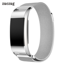 Luxury Magnetic Milanese Stainless Steel Loop Wrist Strap Adjustable Closure Replacement Bracelet Band for Fitbit Charge 2 crested stainless steel band adjustable closure for fitbit charge 2 luxury magnetic milanese loop wrist strap
