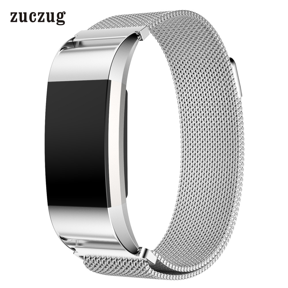 Zuczug Luxury Magnetic Milanese Stainless Steel Loop Wrist Strap Adjustable Closure Replace Bracelet Band for Fitbit Charge 2