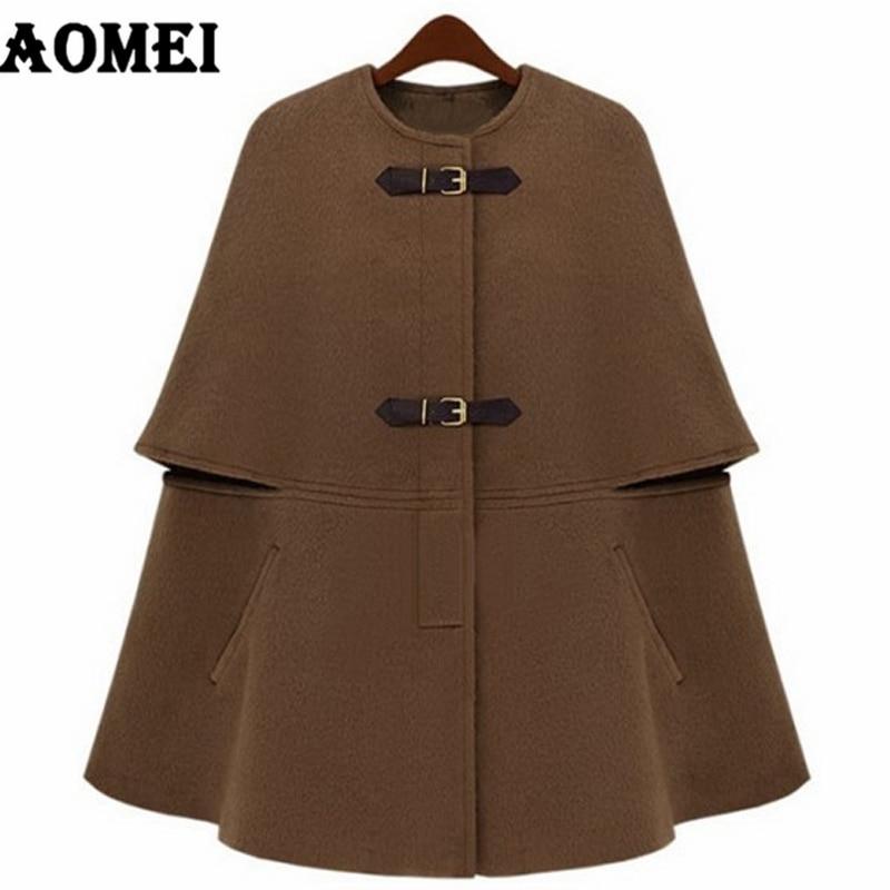 Зимнее модное шерстяное Женское пальто, свободные часы, съемный меховой воротник, одежда для работы, Офисная Женская верхняя одежда, осеннее пальто, накидка - Цвет: CAMEL