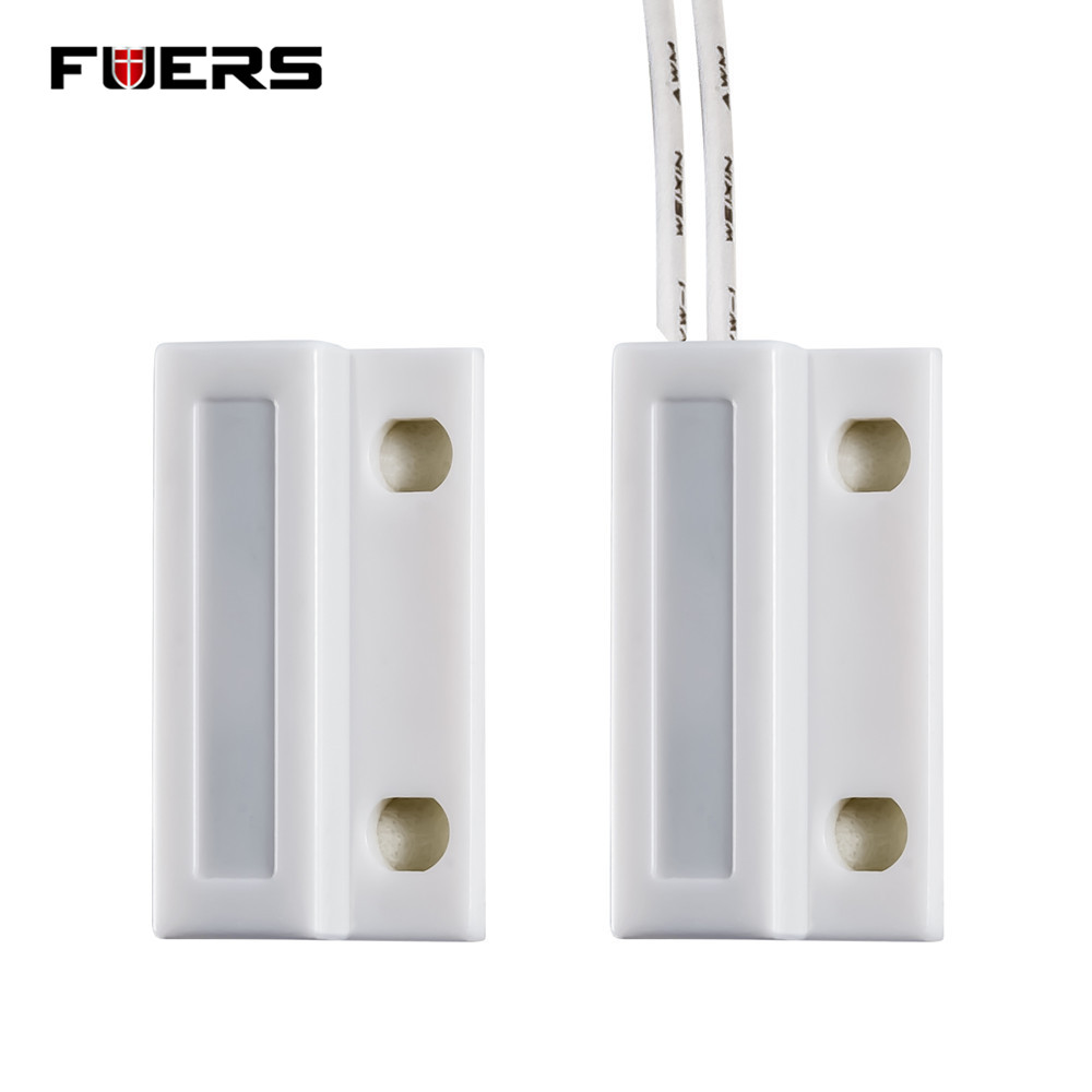 Fuers Door Window Sensor NC Wiring Magnetic Switch Sensor Normally Closed Alarm Door Sensor Home Alarm System Detector free shipping 1pcs wired door window sensor 330mm wire lengthen randomly magnetic switch home alarm system normally closed nc