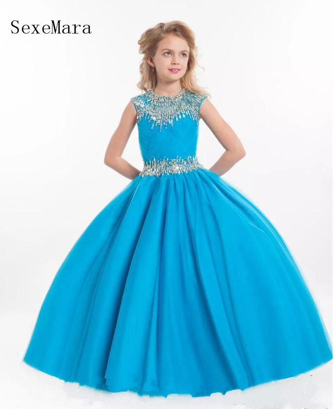 New Girls Pageant Dresses Illusion Neck Cap Sleeve Crystal Beades Pink Long Party Kids Flower Girl Dress Pageant Gown цены онлайн