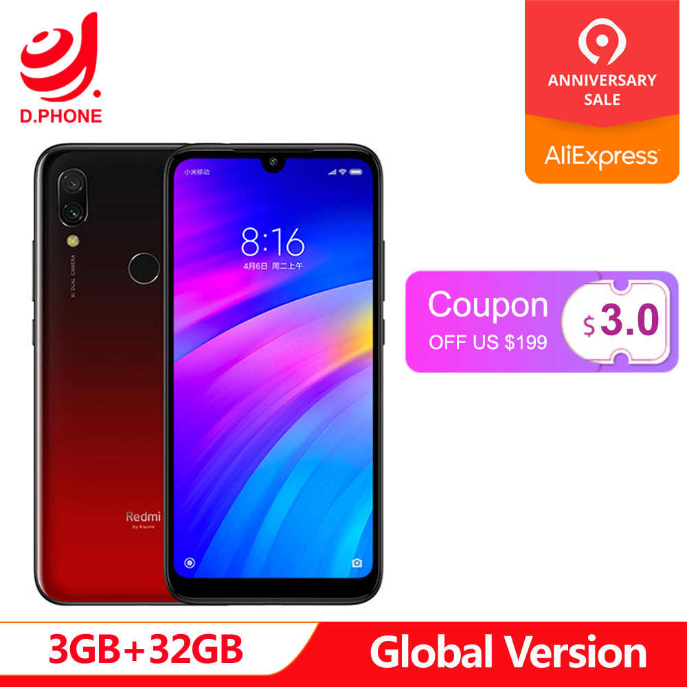 "Оригинальная глобальная версия Xiaomi Redmi 7 3 GB ram 32 GB rom Snapdragon 632 Octa Core 12MP 6,26 ""полный экран 4000 mAh смартфон"