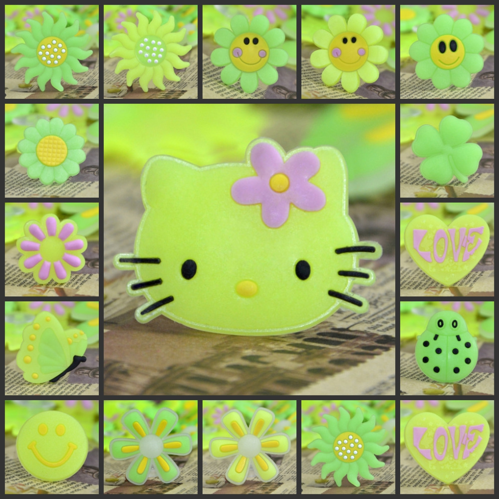 4pcs/lot PVC Shoes Charms Light In The Dark Soft Button Flower Kitty Lovely Shoes Accessory Croc JIBZ Small Party Gift For Kinds