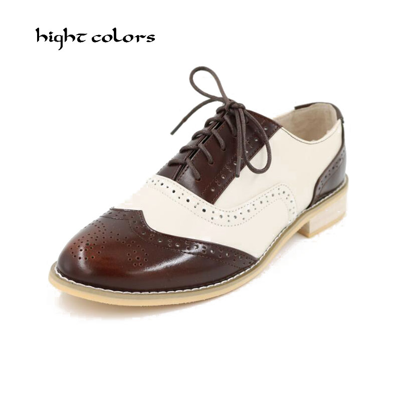 Large Size 34-47 Oxfords Genuine Leather Lace-Up Shoes New 2017 Fashion Autumn Zapatos Mujer Chaussure Femme Women Flats Shoes hot sale genuine leather shoes women soft comfortable lace up zapatos mujer high quality fashion oxfords pigskin women s shoes