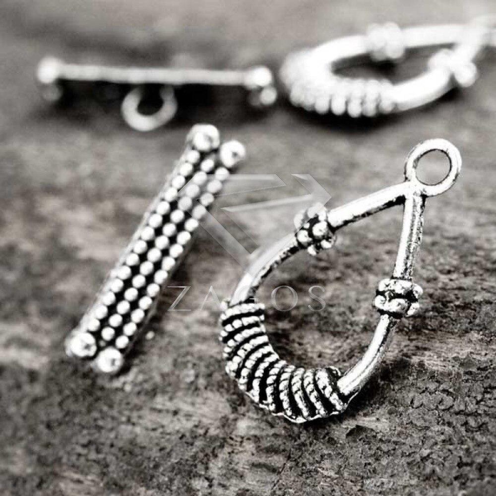 9919cb4705a 20Pcs Tibetan/Antique Silver Tone Teardrop Bar Ring Toggle Zinc Alloy  Jewellry Making Findings Fit Bracelet Necklace TS0708