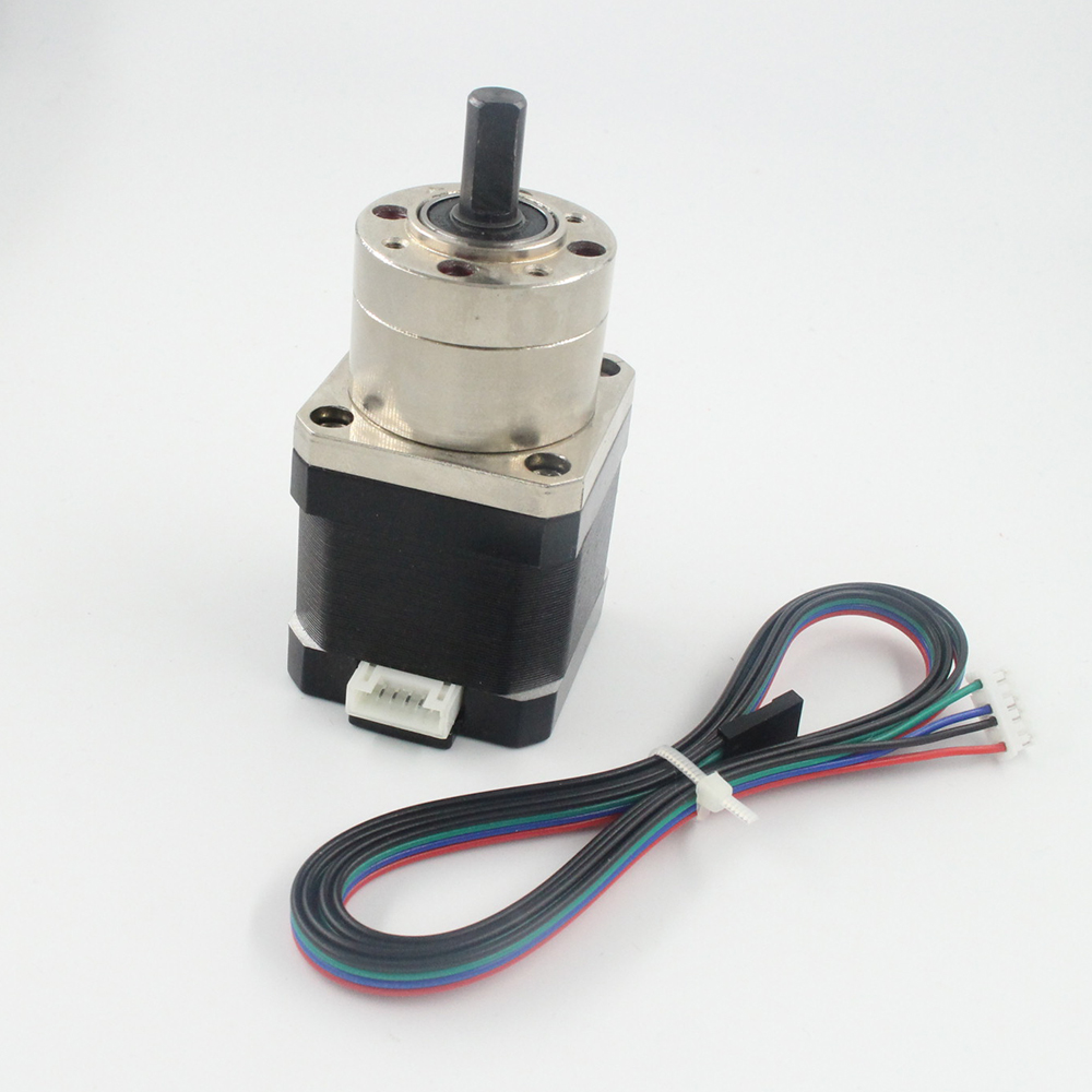free shipping 4-lead Nema17 Stepper Motor 42 motor Extruder Gear Stepper Motor Ratio 5:1 Planetary Gearbox Nema 17 Step Motor