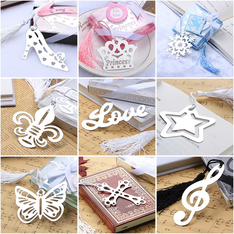 Stainless Steel Metal Bookmarks , Crown / Cross / Snowflake / Love / High Heel Bookmark Markers As Gift