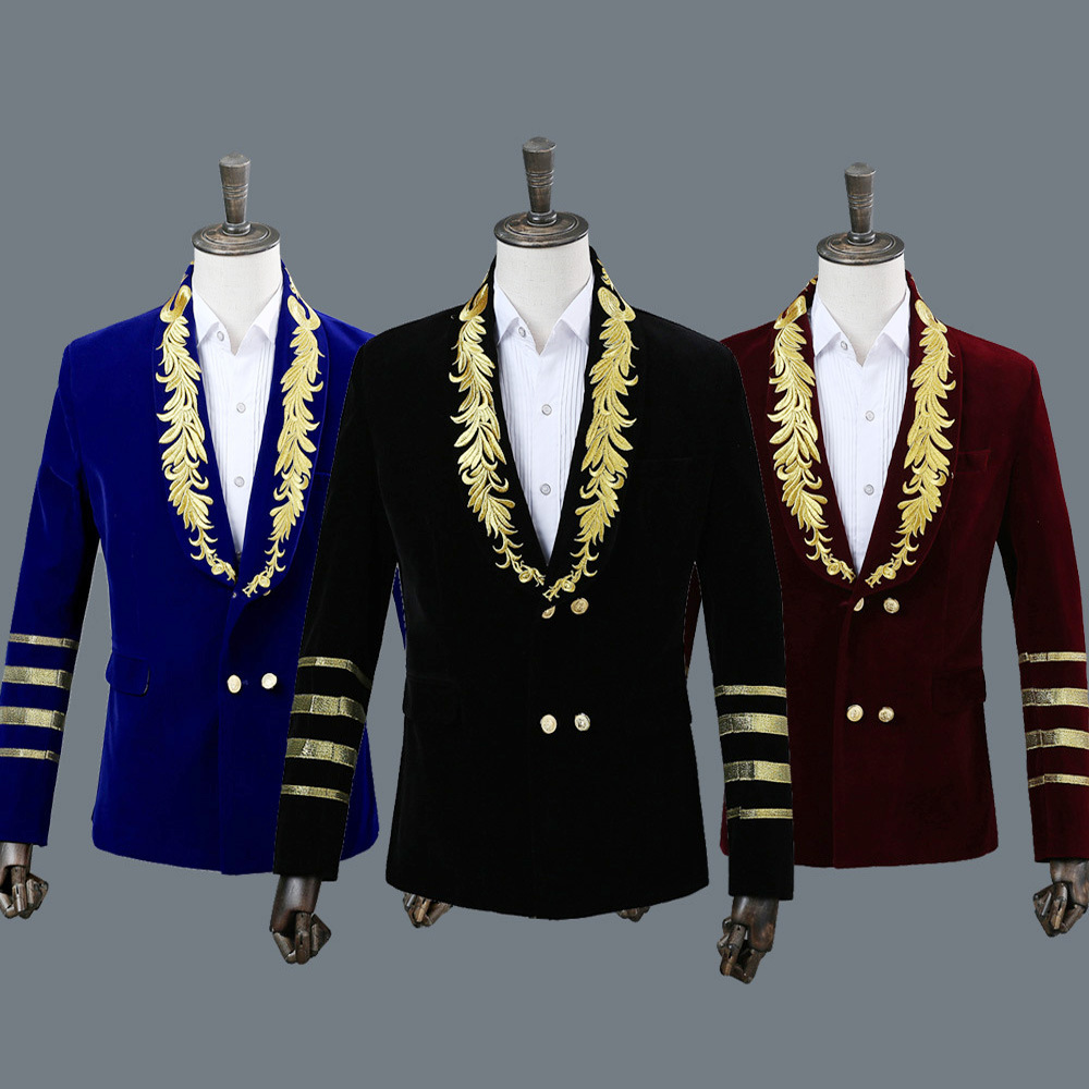 Embroidered suit military dress hosting singer nightclub suit shirt studio photo shoot Blazers Stage performance suits