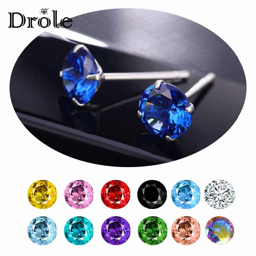 13 Color Big Zircon Stone 925 Sterling Silver Stud Earrings for Women Fashion Jewelry 2019 New