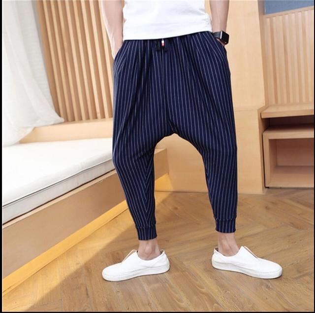 M-3XL Verão Novos homens tarja calça casual Harem Pants calças esquilo voador calças hairstylist maré moda calças de comprimento no tornozelo