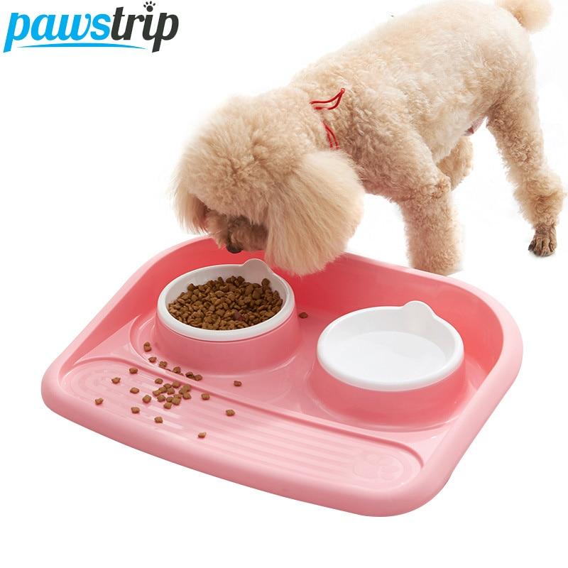 pawstrip 4 Colors Plastic Double Dog Bowl Dish Food