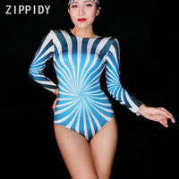 Fashion Blue White Long Sleeves Stretch Bodysuit Women's Prom Party Bodysuit Nightclub Outfit Women Singer Dancer Show Clothes