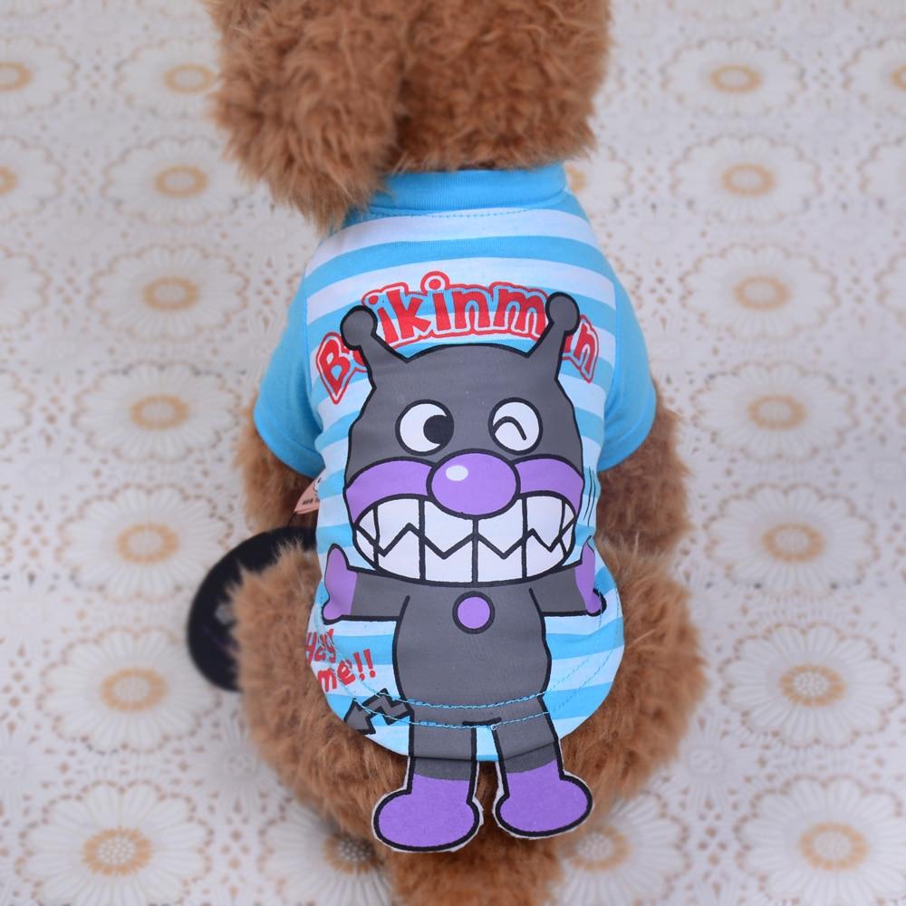 Kids Pet Clothes Cat Dog Shirts Stripes Cartoon Anpanman Chihuahua Yorkshire Terrire Puppy Family Clothing XS S M L XL