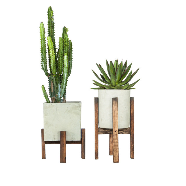 Cement Flowerpots with Wood Shelves For Green Plants and Succulents Home & Office Decoration Use