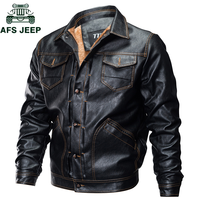 Autumn Winter Thick Warm mens leather jackets coats Plus Size 3XL Military Multi-Pocket Flight Faux Leather Jacket jaqueta couro mens winter down jackets coats piumino peuterey wool collar double breasted jacket lapel pocket vertical multi pocket jacket