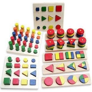 Bébé éducatif en bois géométrie forme bois puzzle enseignement jouets ensemble (8 types dans un ensemble)