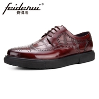 British Designer Genuine Leather Men S Oxfords Formal Dress Round Toe Man Wingtip Flat Platforms Male