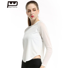 ФОТО  Womens Autumn Yoga T-shirt Chiffon Patchwork Sports Tops Long Sleeves Sexy See Through Black White O-neck Sportswear 279