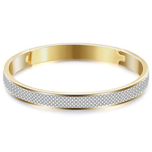 Titanium steel bangle, opening 3 rows of zircon bracelet, fashion jewelry accessories wholesale,ZJ1020