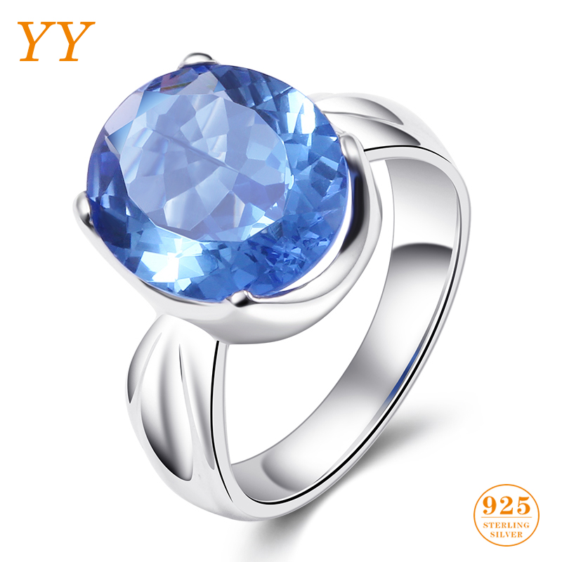 YY Fine Jewelry 925 Sterling Silver Shining Boutique Aquamarine Ocean Blue Vintage Trendy Fashion woman girl Engagement Ring