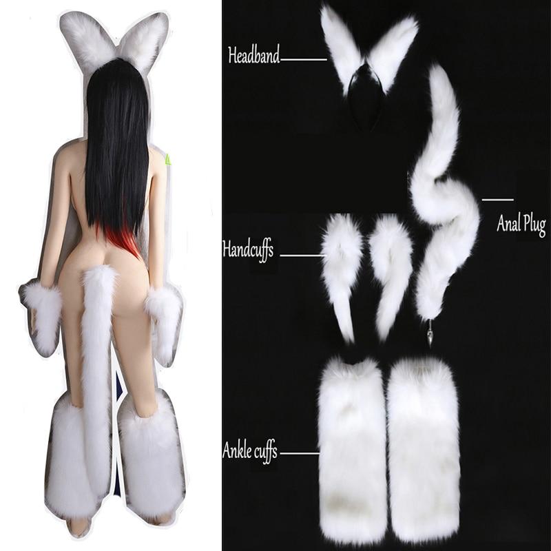 White Sexy Faux Fox Tail Butt Metal Butt Plug Wrist Hand Cuffs Leg Ankle Cuffs Headband