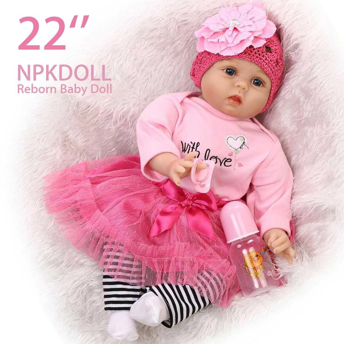Bebes Reborn poupée 55 cm Silicone souple Reborn bébé poupées jouets faits à la main cadeaux de noël pour fille enfants cadeau d'anniversaire poupée Surprice