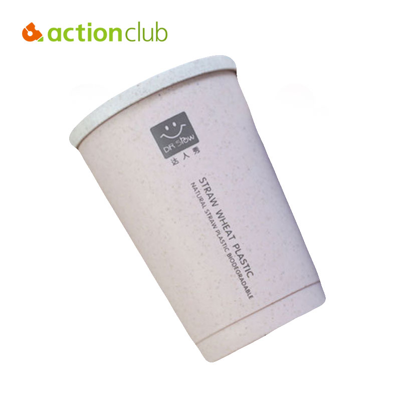 Actionclub Wheat Straw Mug Portable Eco friendly Healthy Leak proof Coffee Bottles With Lid Creative Cups