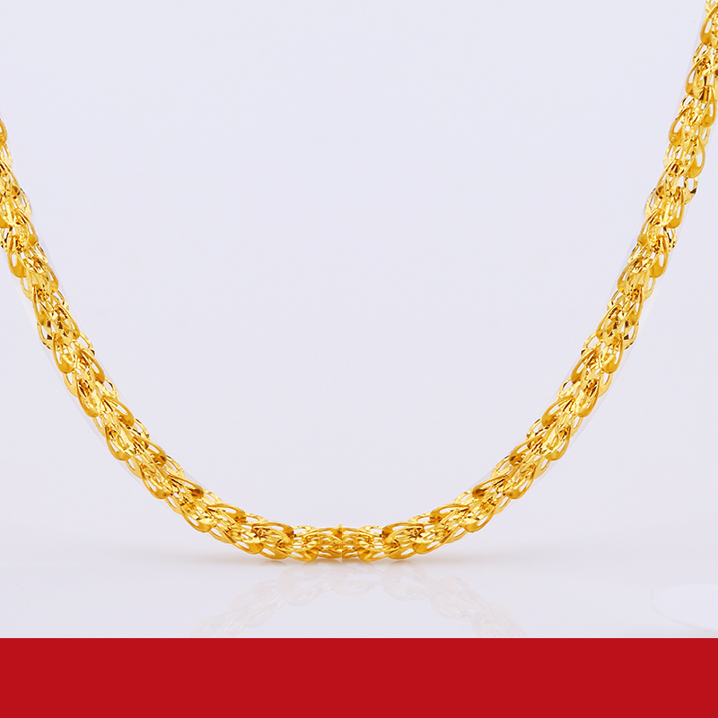 JLZB 24K Pure Gold Necklace Real AU 999 Solid Gold Chain Smart Beautiful Upscale Trendy Classic  Fine Jewelry Hot Sell New 2019