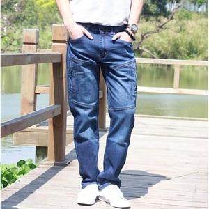 Image 2 - ICPANS Men Jeans Pants Stretch Straight Loose Black Cargo Denim Jeans Men Zipper 2019 New Big Size 40 42 44
