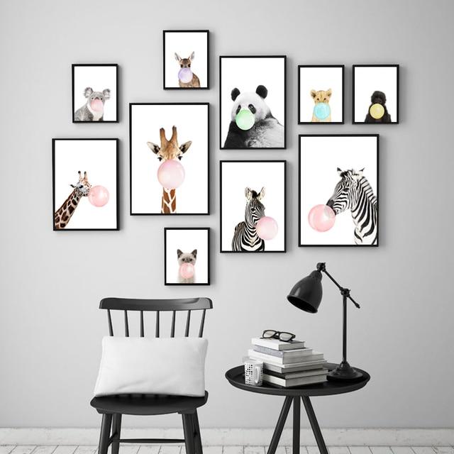Cartoon Animals Canvas Painting Poster Print Panda Zebra Orangutan Giraffe On Kids Room Decor Nursery