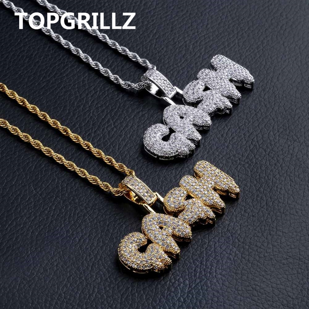 TOPGRILLZ Custom Bubble Letter CASH Necklace&Pendant Gold Silver Color Iced Out Cubic Zircon Bling Jewelry Necklaces Gifts