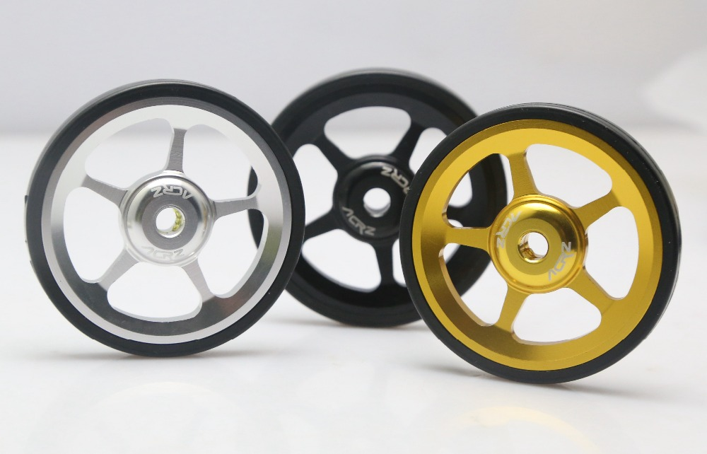 TAIWAN ACRZ 7075 alloy 1pair Super Lightweight Easywheel For Brompton black/silver/gold-in Bicycle Wheel from Sports & Entertainment