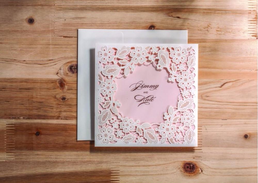 baby pink frame wedding invitation cards laser cut birthday